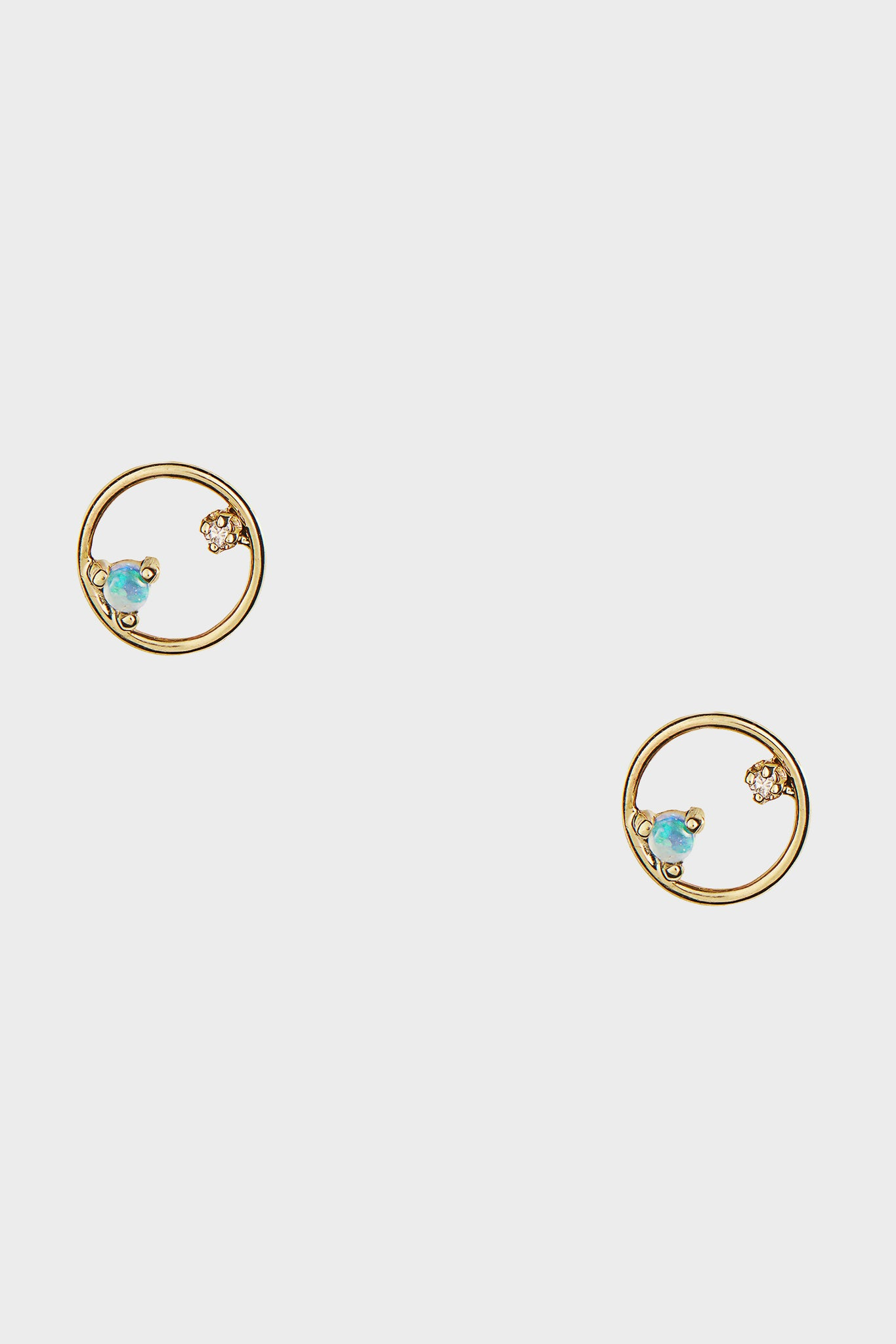 WWAKE - mini circle earrings pair, opal and diamond