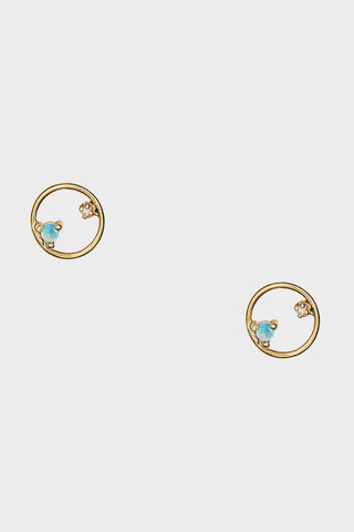 mini circle earrings pair, opal and diamond