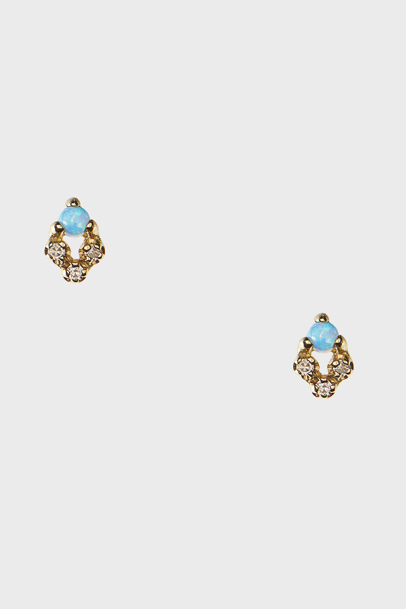 WWAKE - posy earrings pair, opal and diamond