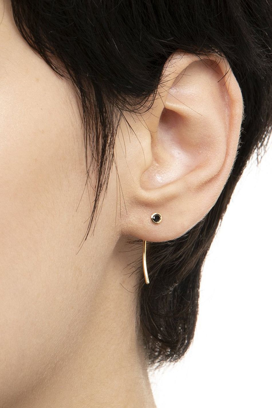 HIROTAKA - Black Diamond Short Arrow Earring, gold
