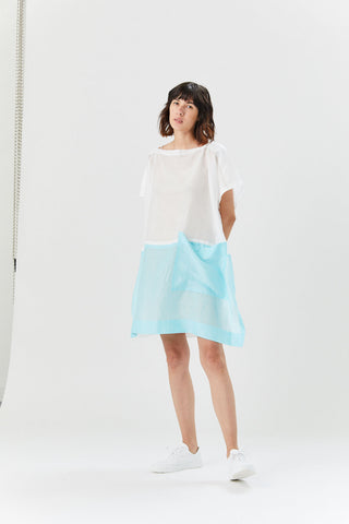 Flat Ramie Dress, White & Blue