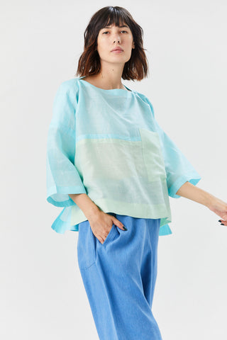 Flat Ramie Blouse, Blue & Mint