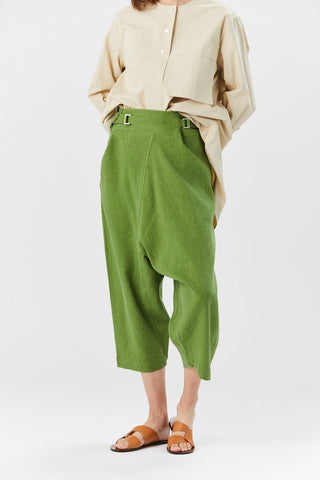 Flat Linen Bottoms, Green