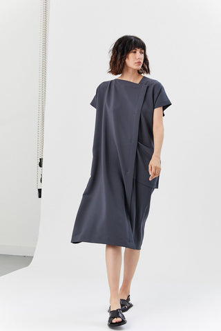 Satin Drape Dress, Charcoal