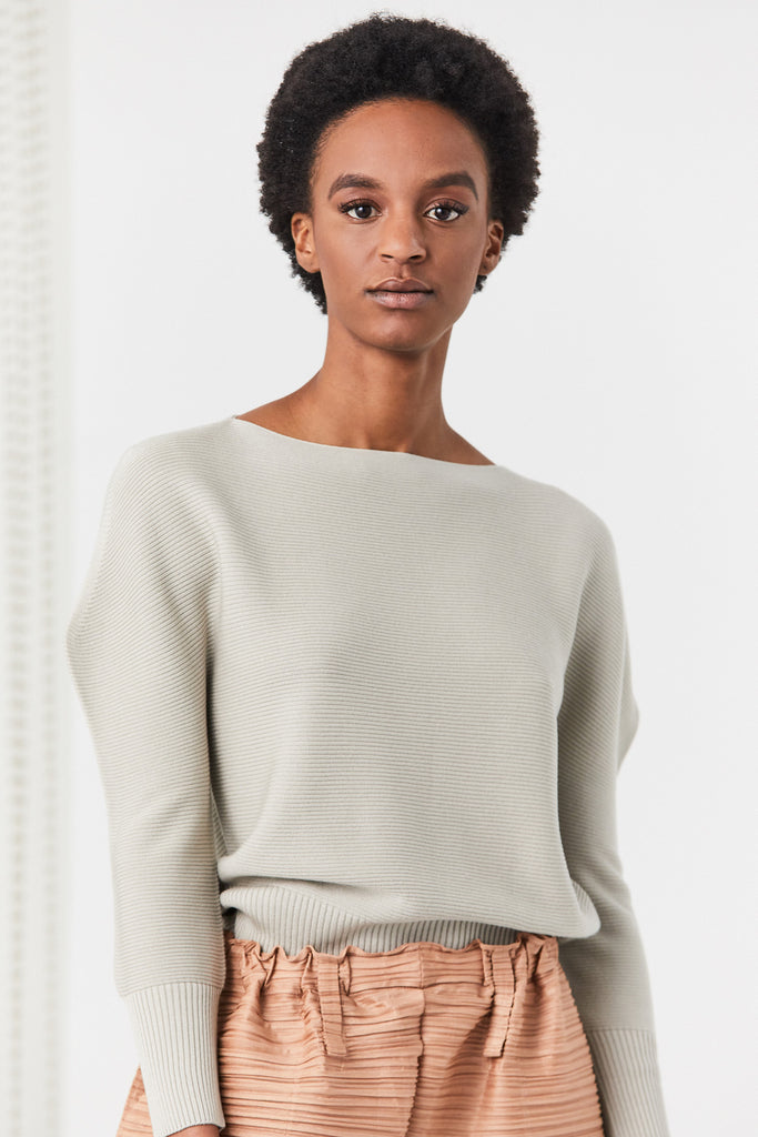 Flat Rib Knit Top, Beige