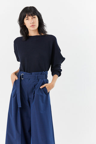 Flat Rib Knit Top, Navy