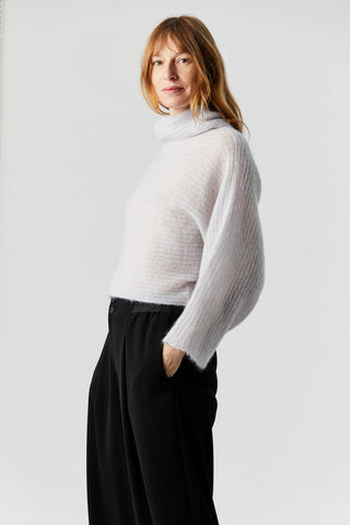 Flat Rib Knit Sweater, Grey