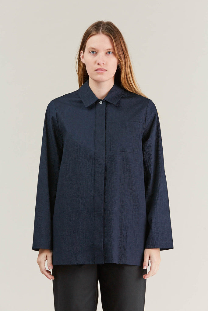 Lana seersucker shirt, Navy by NORSE PROJECTS @ Kick Pleat - 3