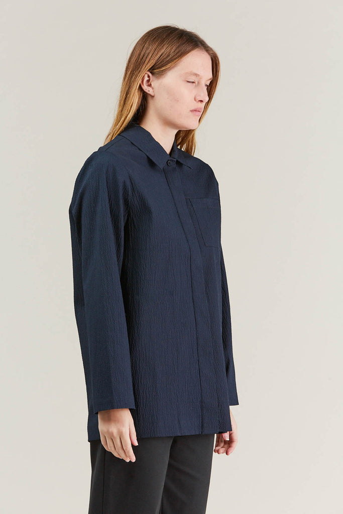 Lana seersucker shirt, Navy by NORSE PROJECTS @ Kick Pleat - 4