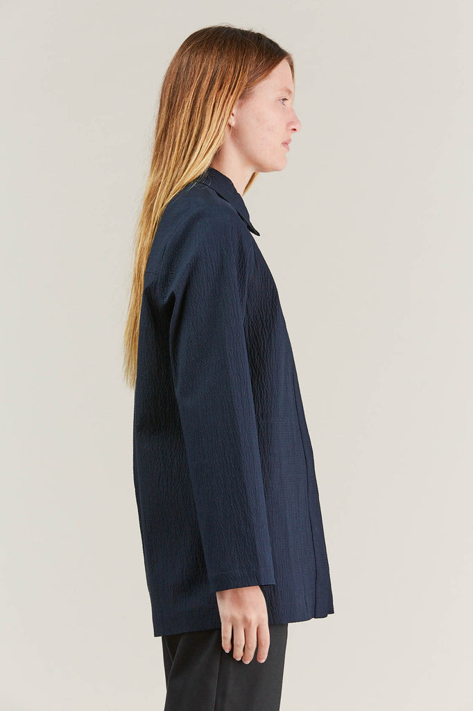 Lana seersucker shirt, Navy by NORSE PROJECTS @ Kick Pleat - 5