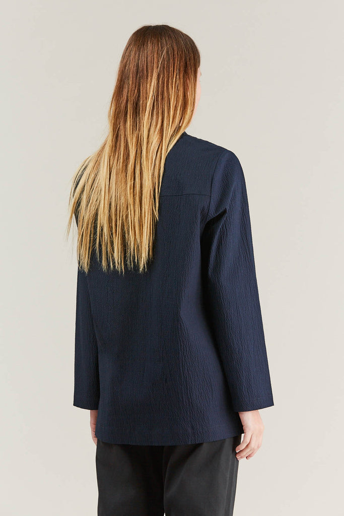 Lana seersucker shirt, Navy by NORSE PROJECTS @ Kick Pleat - 6