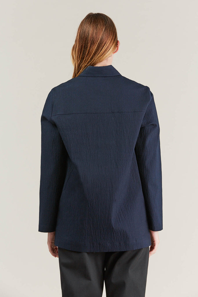 Lana seersucker shirt, Navy by NORSE PROJECTS @ Kick Pleat - 7