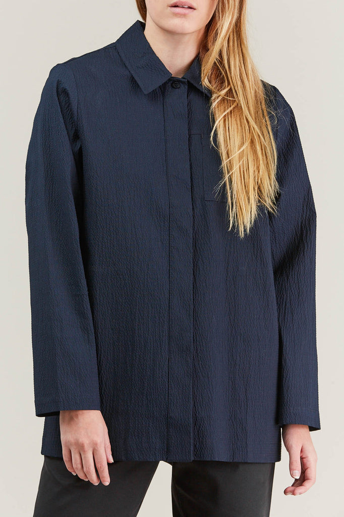 Lana seersucker shirt, Navy by NORSE PROJECTS @ Kick Pleat - 2