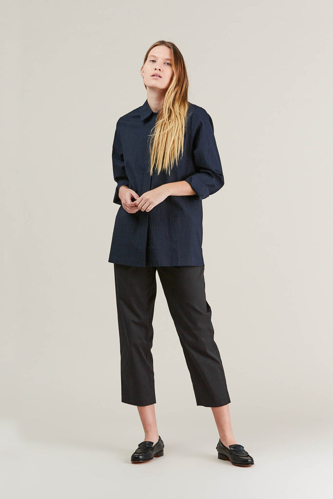 Lana seersucker shirt, Navy by NORSE PROJECTS @ Kick Pleat - 9