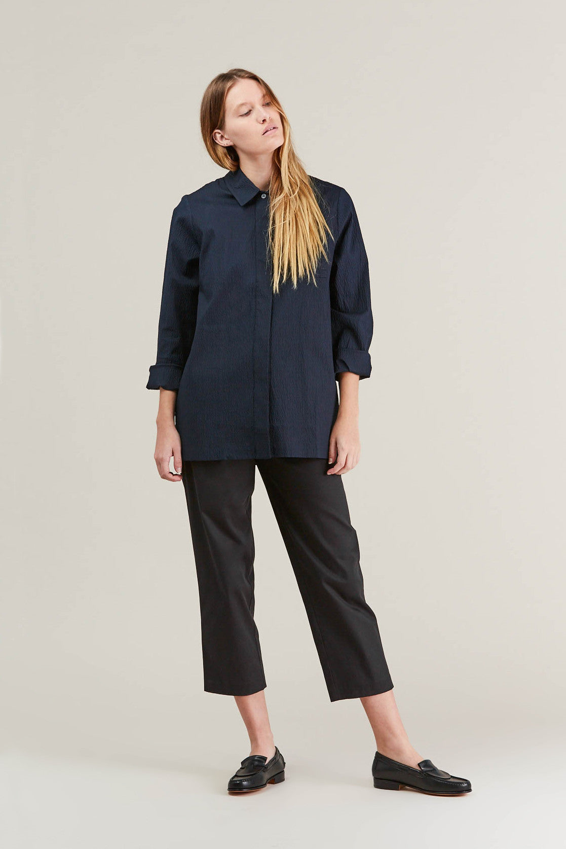 Lana seersucker shirt, Navy by NORSE PROJECTS @ Kick Pleat - 1
