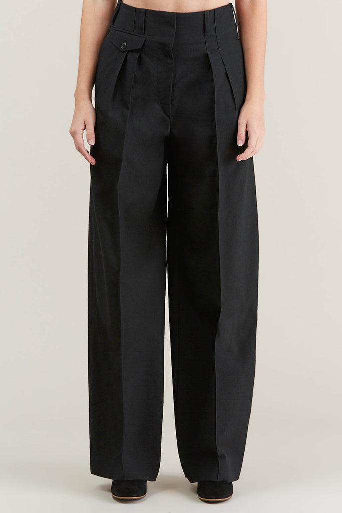 Two Pleated Pants, Black by Lemaire @ Kick Pleat - 2