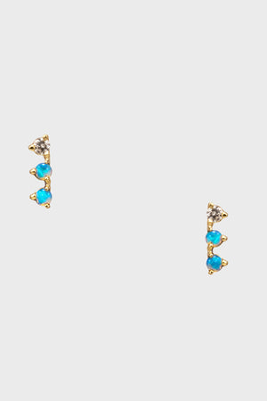 WWAKE - 3 step opal and white diamond earrings