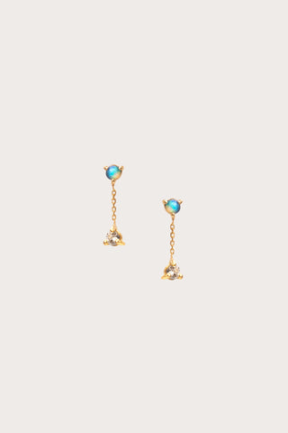 Small Two Step Chain Earrings, Opal/White Diamond
