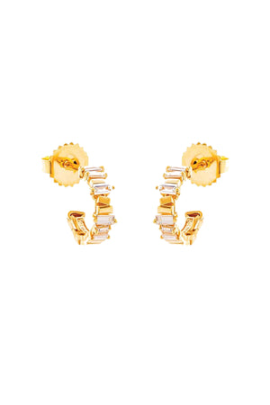 SUZANNE KALAN - Baguette hoop earrings, yellow gold and diamond