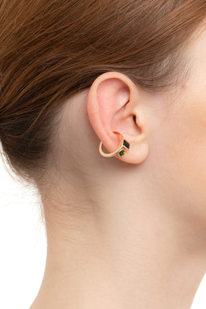 HIROTAKA - Bird of Paradise Ear Cuff Onyx & Chrome Diopside