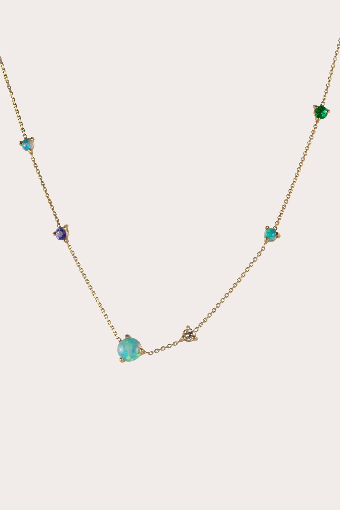 WWAKE - Linear Chain Necklace with Stones and Diamonds