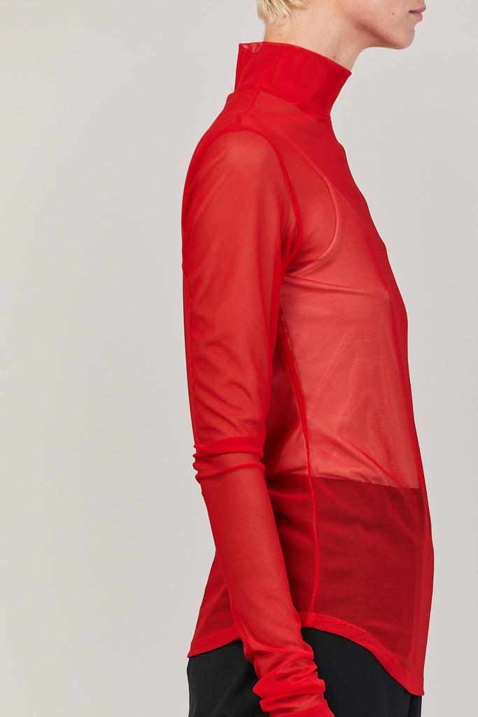 Long Sleeve Mock Neck, Red