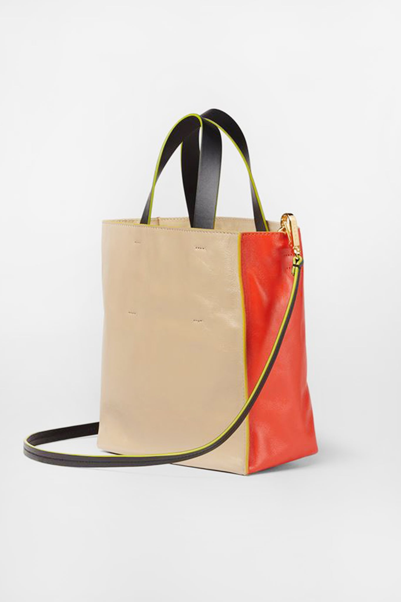 MARNI - small museo soft bag, beige and orange