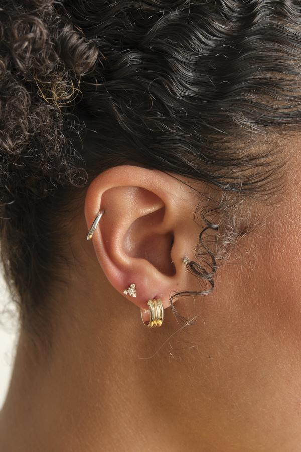 WWAKE - wide ripple hoops pair, gold