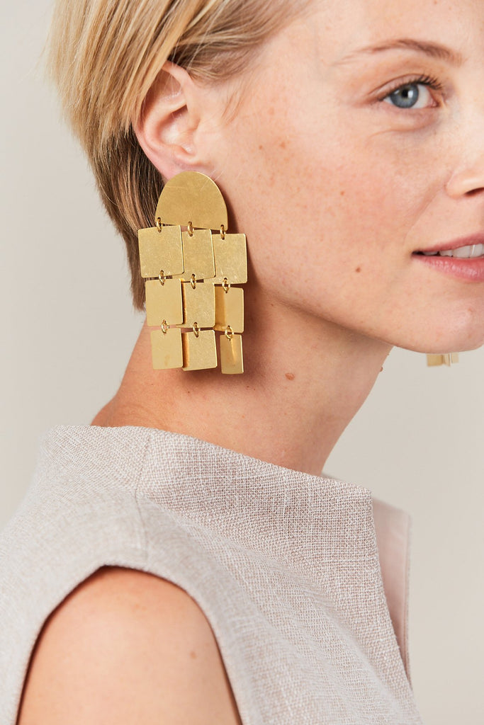 Cube Chandelier Earrings, Gold