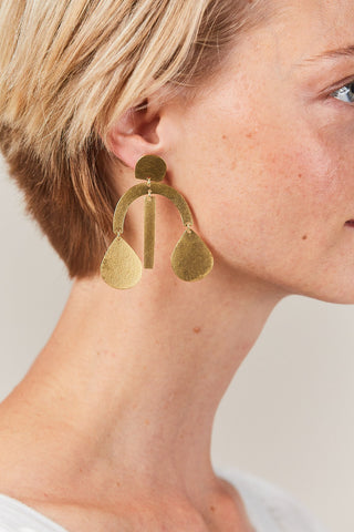 Mini Arc Drop Earrings, Gold