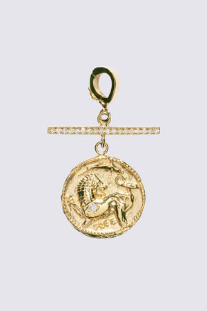 AZLEE - Small Animal Kingdom Coin with Pave Diamonds, Gold