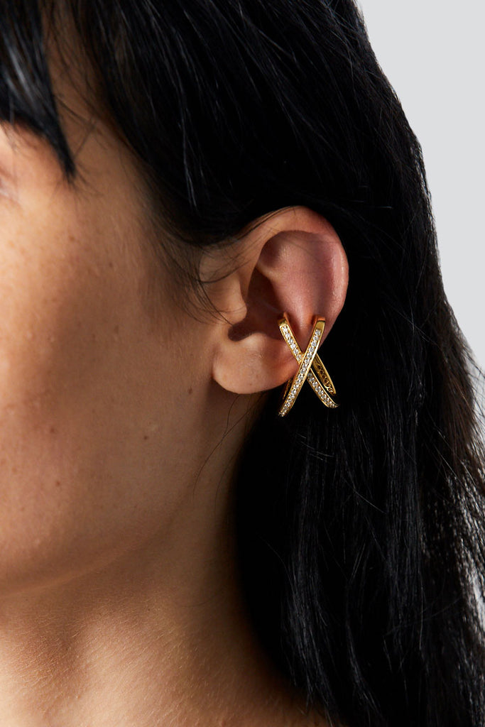 Mini Encrusted Space Ear Cuff, Gold