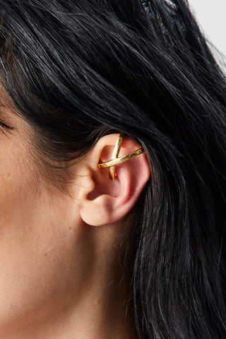Mini Space Ear Cuff, Gold Plate