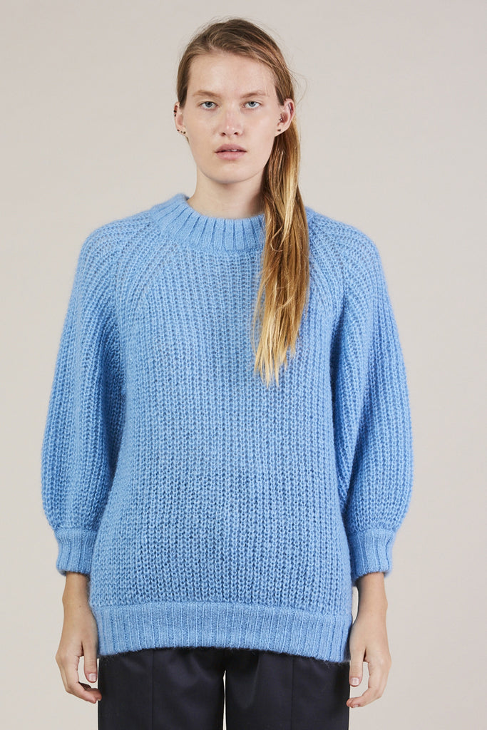 Cropped Sleeve Sweater, Blue