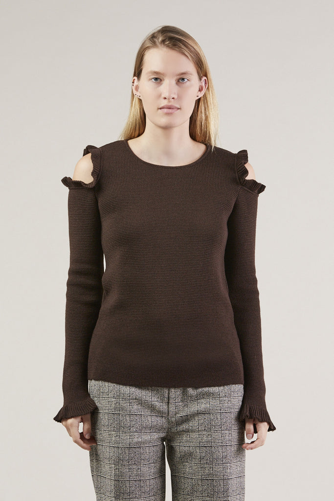 No Shoulder Sweater, Brown