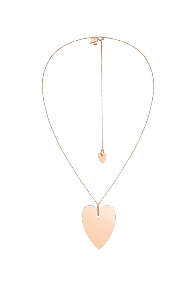 Angele Jumbo Heart Necklace, Rose Gold