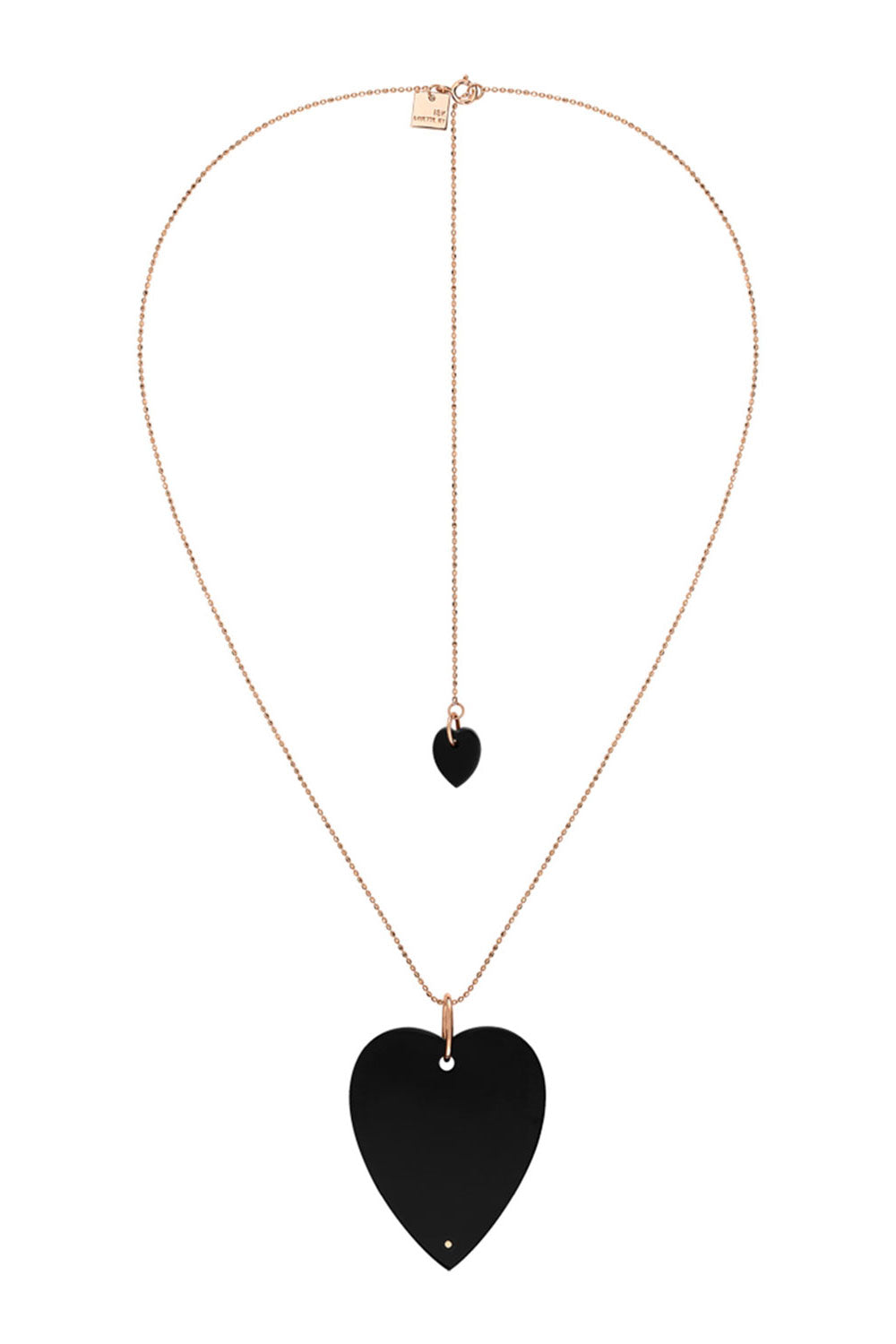 Ginette NY - Angele Jumbo Onyx Heart Necklace, Rose Gold