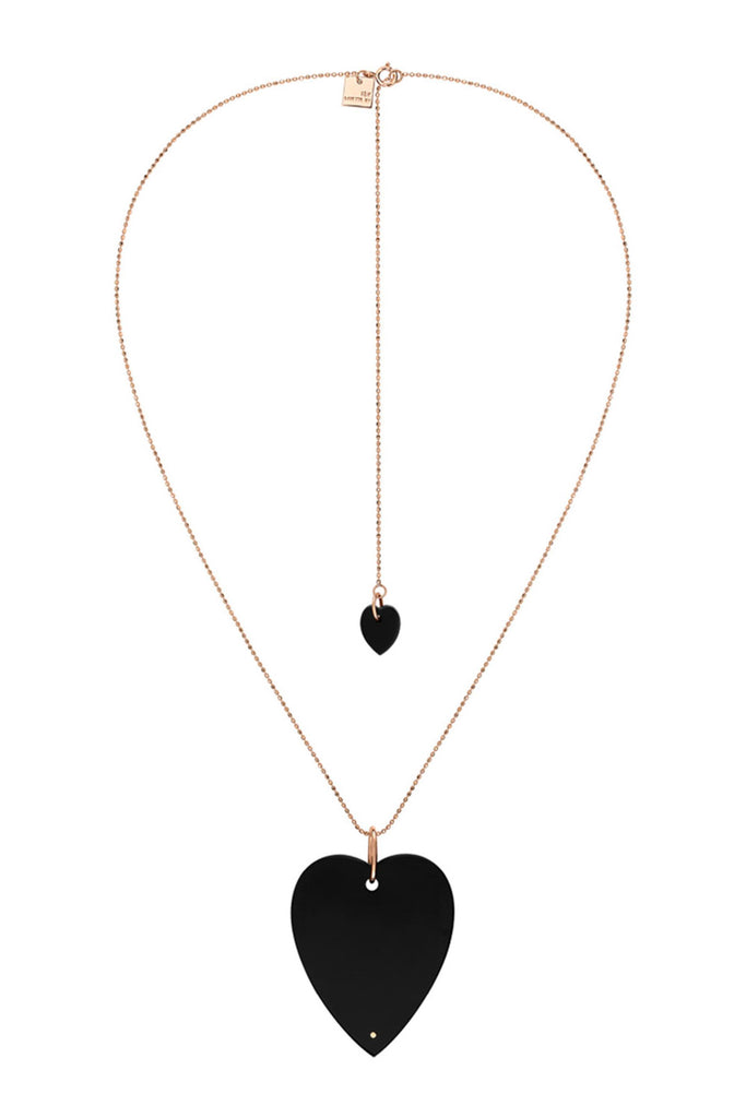 Angele Jumbo Onyx Heart Necklace, Rose Gold