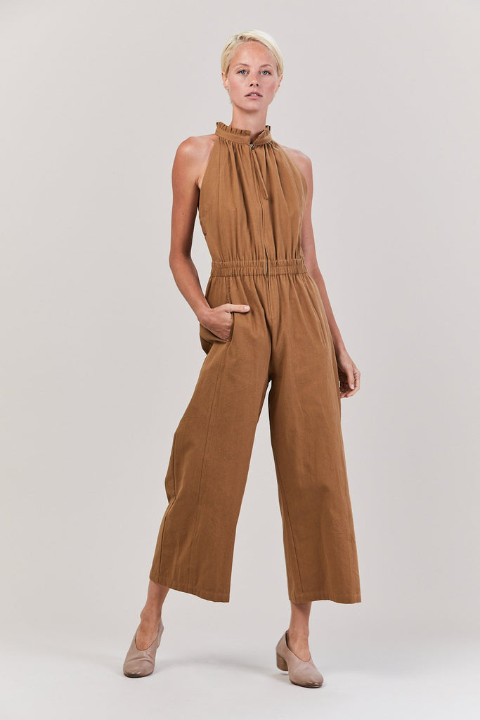 Archer Zip Front Jumpsuit, Cinnamon