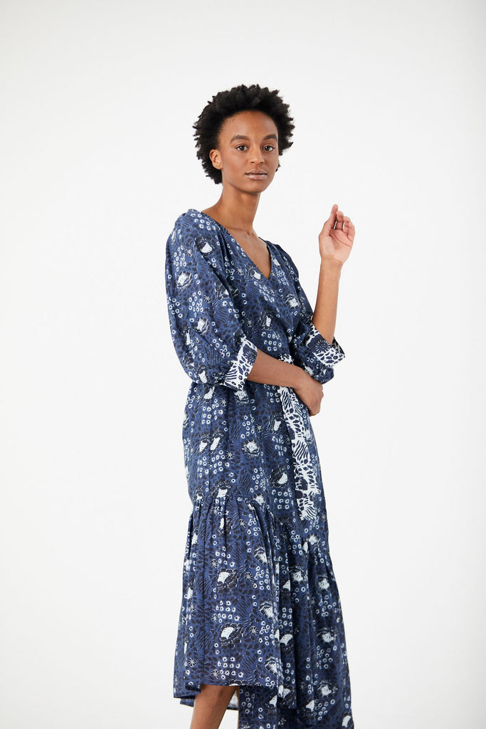 Bougainvillea Wrap Dress, Navy