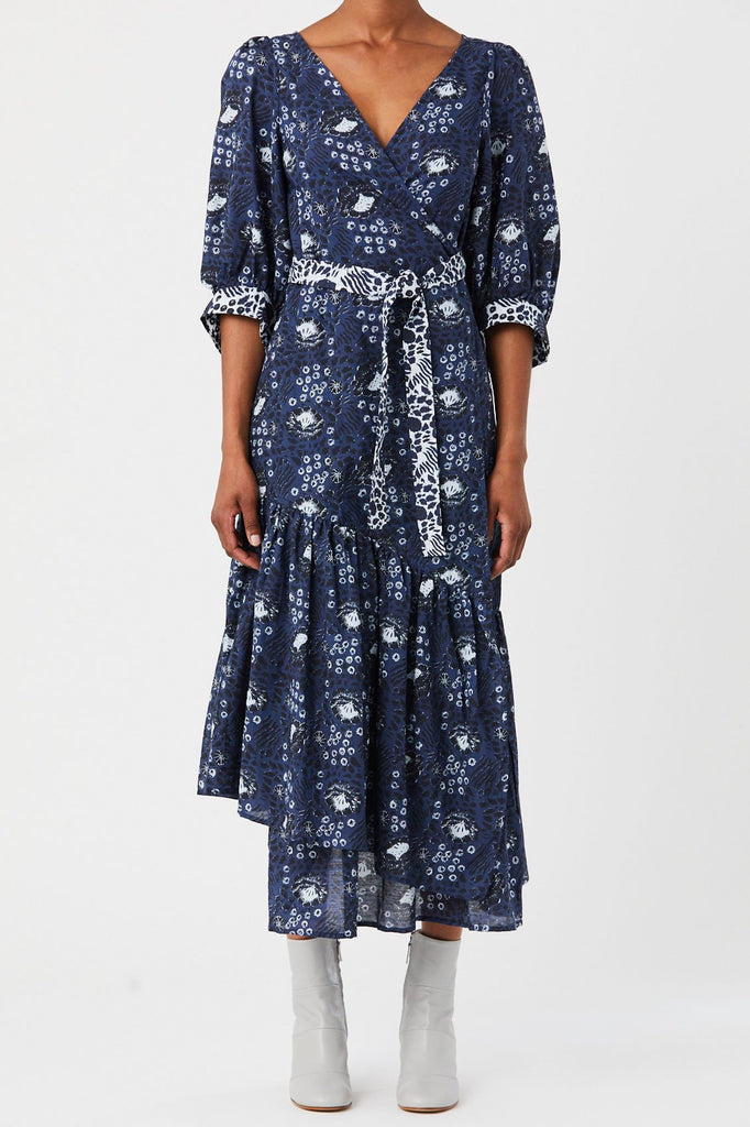 Apiece Apart - Bougainvillea Wrap Dress, Navy