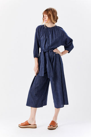 Isla Wideleg Jumpsuit, Navy Stripe