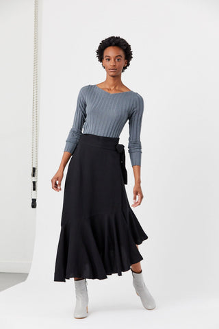 Rosita Wrap Skirt, Black