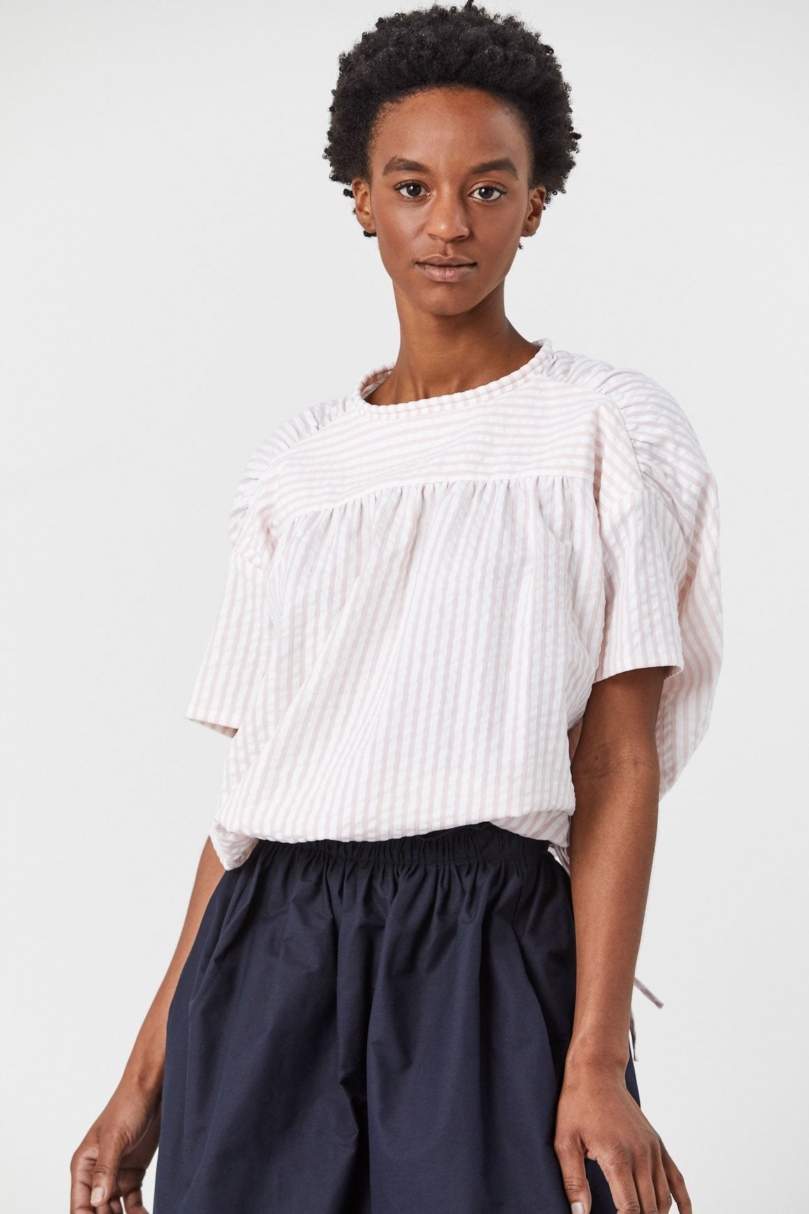 Atlantique Ascoli - Celeste Wide Cinch Top, White Stripe