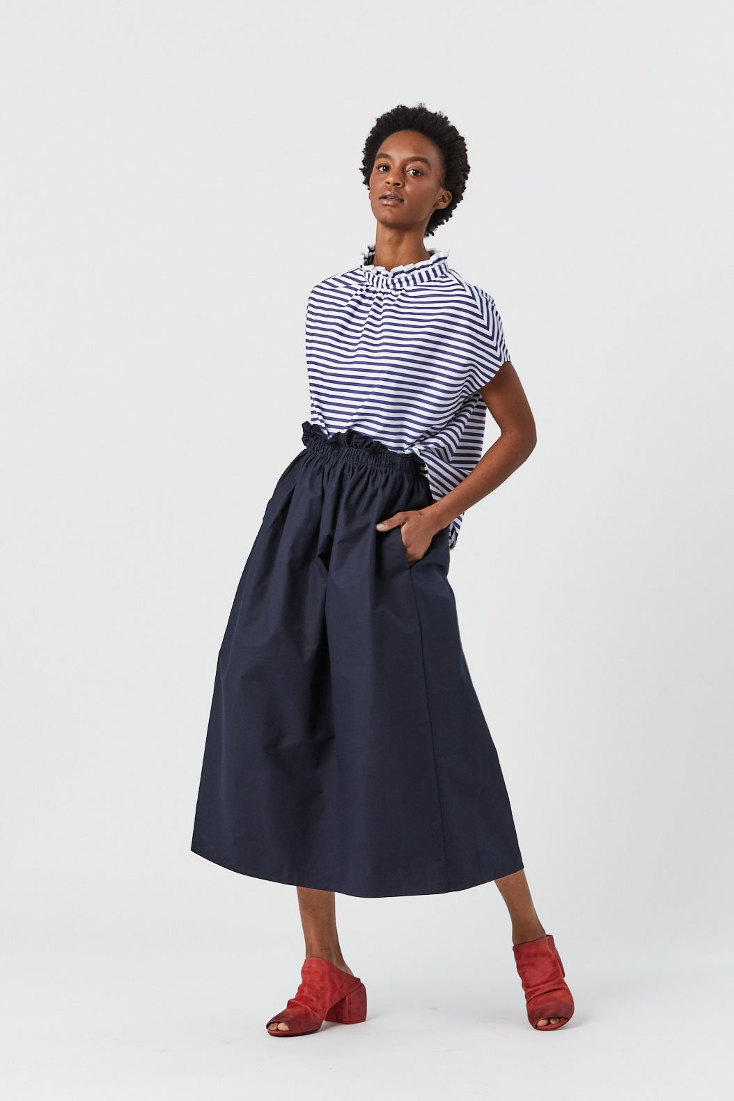 Atlantique Ascoli - Long Petite Jupe Grand Skirt, Navy