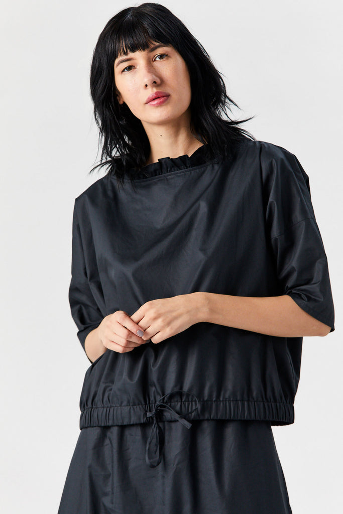 Drawstring Blouse, Black