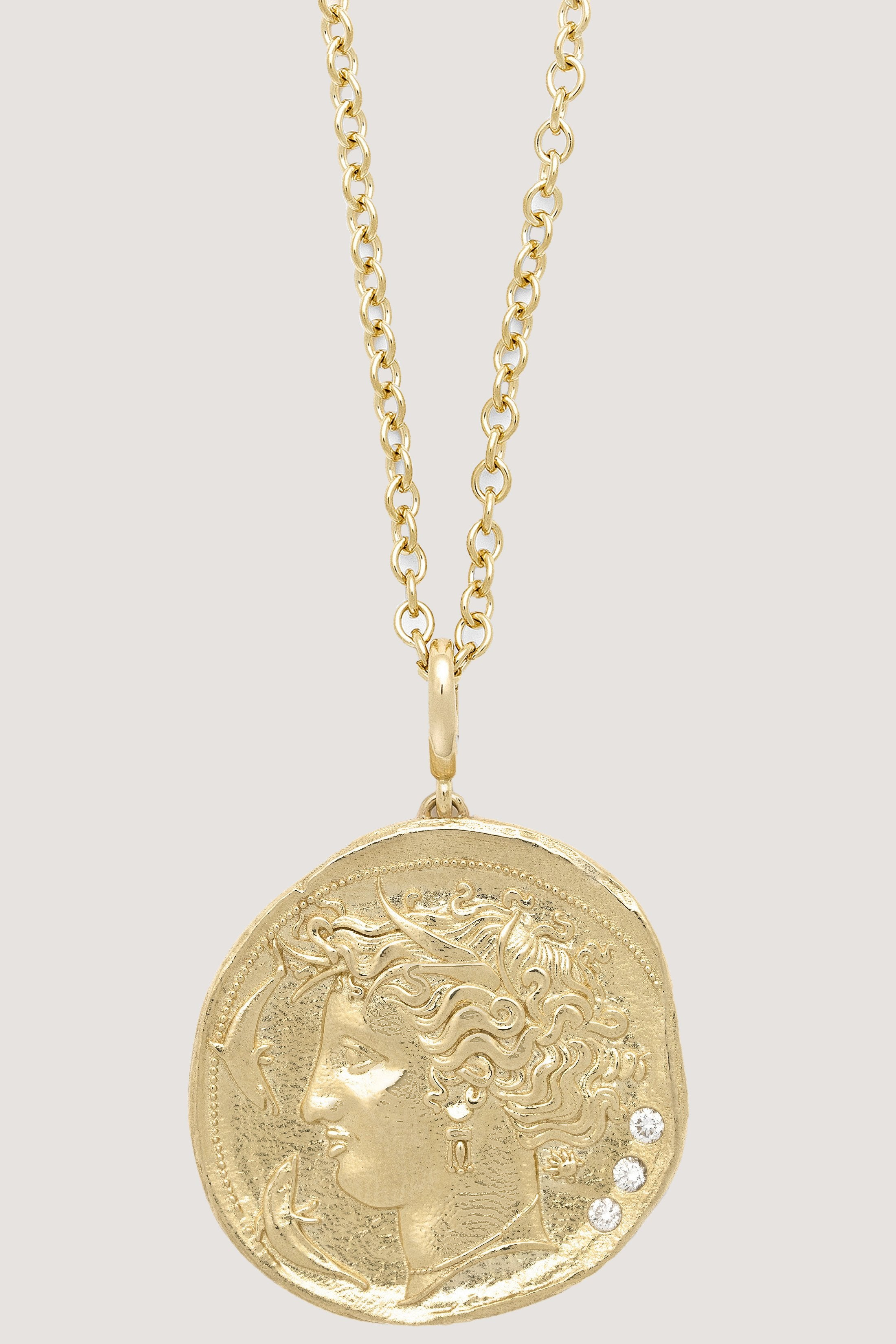 Azlee - Limited edition Large goddess diamond coin necklace