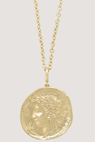 Limited edition Large goddess diamond coin necklace