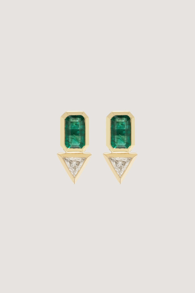 Emerald & Trillion Diamond Studs, Gold