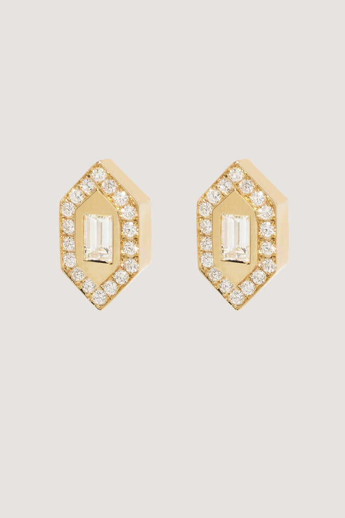 Azlee - N/S Diamond Stud Earrings, Gold